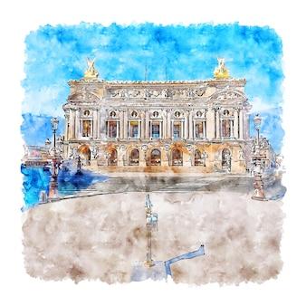 Handgezeichnete illustration der opera garnier paris aquarell-skizze