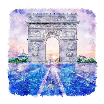 Handgezeichnete illustration der pariser frankreich-aquarellskizze