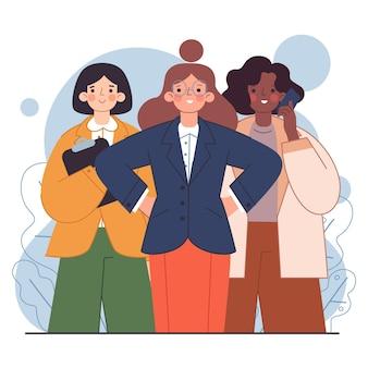 Handgezeichnete illustration der selbstbewussten unternehmerinnen