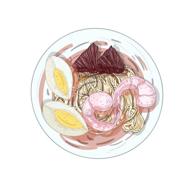 Handgezeichnete illustration der thailändischen gebratenen nudeln. hokkien mee suppe mit eischeiben in der schüssel lokalisiert auf weiß