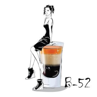Handgezeichnete illustration des cocktails mit mädchen. b 52. vektorillustration