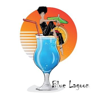 Handgezeichnete illustration des cocktails mit mädchen. blaue lagune.