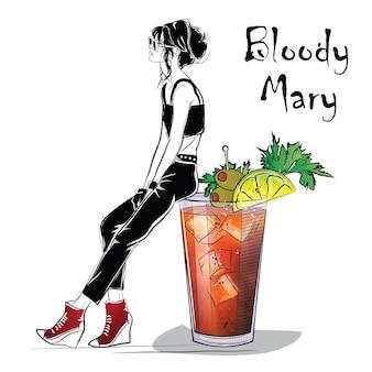 Handgezeichnete illustration des cocktails mit mädchen. blutige maria. vektor-illustration