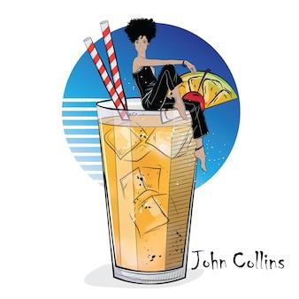 Handgezeichnete illustration des cocktails mit mädchen. john collins. vektor-illustration