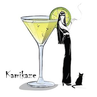 Handgezeichnete illustration des cocktails mit mädchen. kamikaze. vektor-illustration