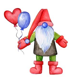 Handgezeichnete illustration des gnoms mit einer ballon-gnome-weihnachtsmann-aquarellillustration