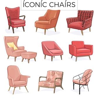 Handgezeichnete illustration des ikonischen stuhls