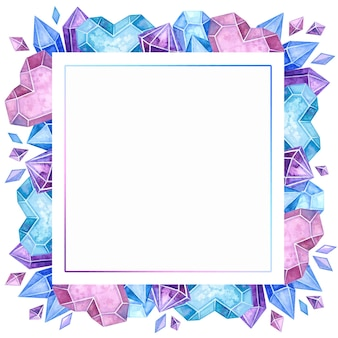 Handgezeichnete illustration des leeren kristallinen farbrahmens.