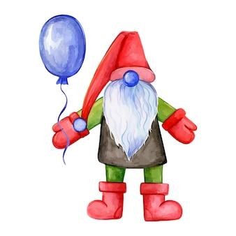 Handgezeichnete illustration des weihnachtszwergs mit einer ballonzwerg-weihnachtsmann-aquarellillustration