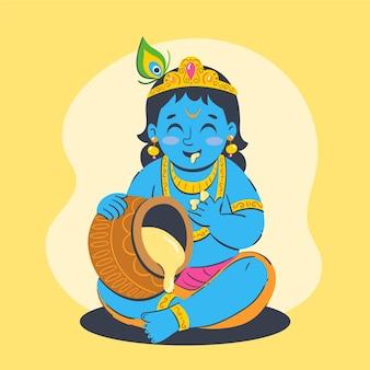Handgezeichnete illustration von baby krishna, die butter isst