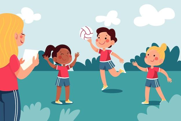 Handgezeichnete illustration von kindern im sportunterricht