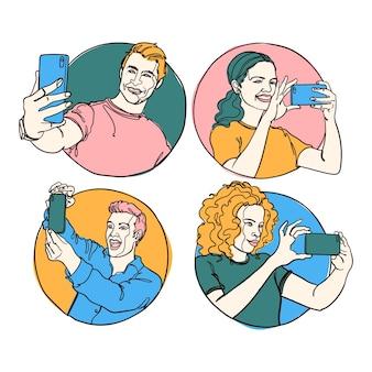 Handgezeichnete illustration von leuten, die fotos mit smartphone machen