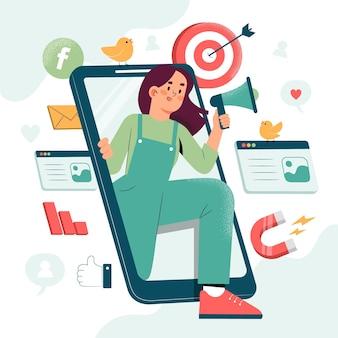 Handgezeichnete illustration von menschen mit smartphone für marketing