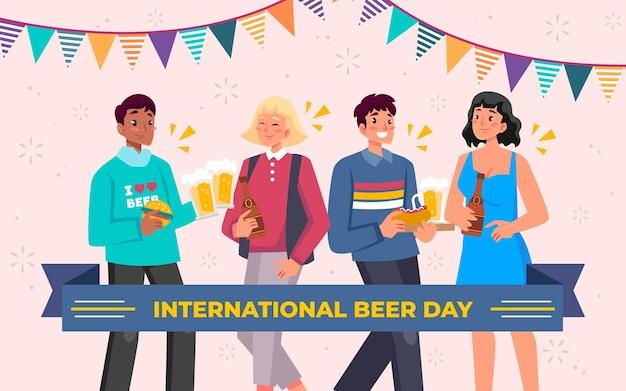 Handgezeichnete illustration zum internationalen biertag