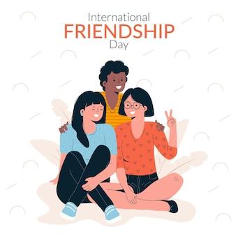 Handgezeichnete illustration zum tag der internationalen freundschaft