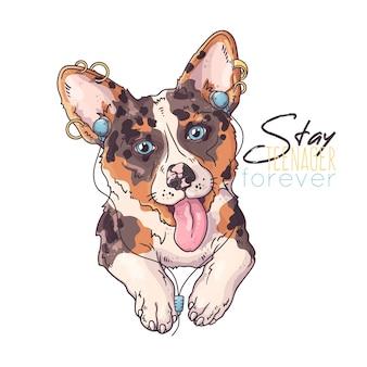 Handgezeichnete illustrationen. porträt des niedlichen corgi-hundes, der musik hört