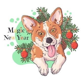 Handgezeichnete illustrationen. porträt des niedlichen corgi-hundes mit weihnachtsbaum.