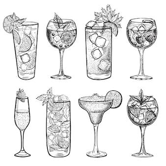 Handgezeichnete illustrationen von alkoholischen cocktails
