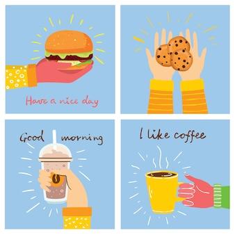 Handgezeichnete illustrationen von essen und kaffee im flachen stil