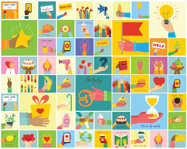 Handgezeichnete illustrationen von händen halten verschiedene dinge wie smartphone, pizza, eis, donut und andere im flachen stil