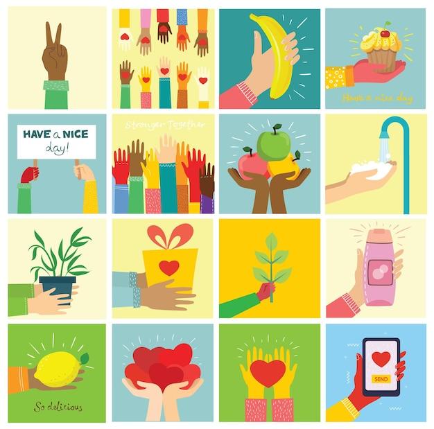 Handgezeichnete illustrationen von händen halten verschiedene dinge Premium Vektoren