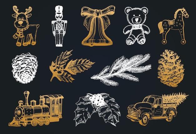 Handgezeichnete illustrationen von weihnachtsspielzeug und weihnachtskrippen.