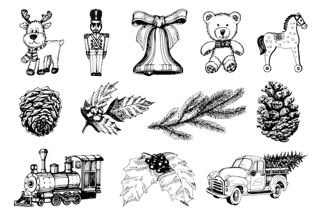 Handgezeichnete illustrationen von weihnachtsspielzeug