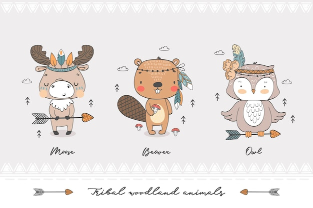 Handgezeichnete illustrationszeichen der stammeswaldtiere