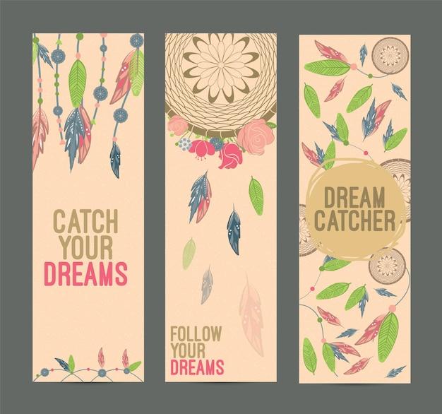 Handgezeichnete indianische dreamcatcher-banner-set. eps 10