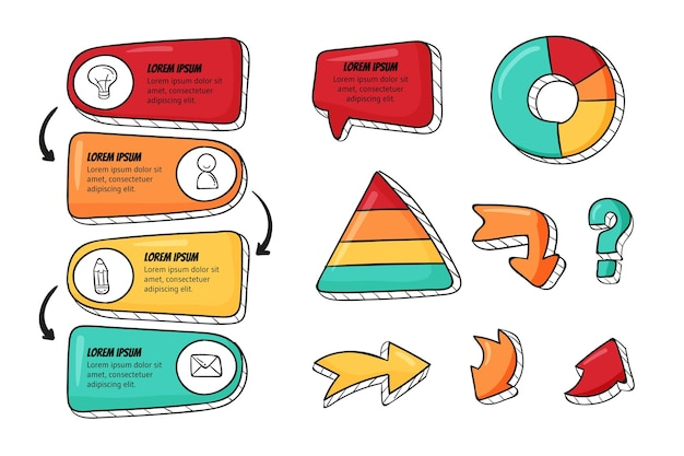 Handgezeichnete infografik-elemente-sammlung