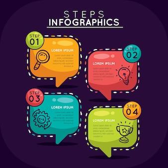 Handgezeichnete infographik schritte