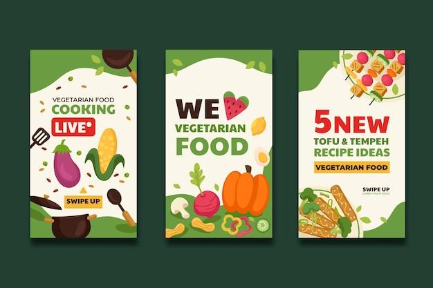Handgezeichnete instagram-geschichten mit flachem design für vegetarisches essen
