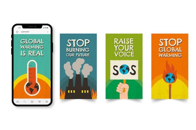 Handgezeichnete instagram-geschichten-vorlage zum klimawandel