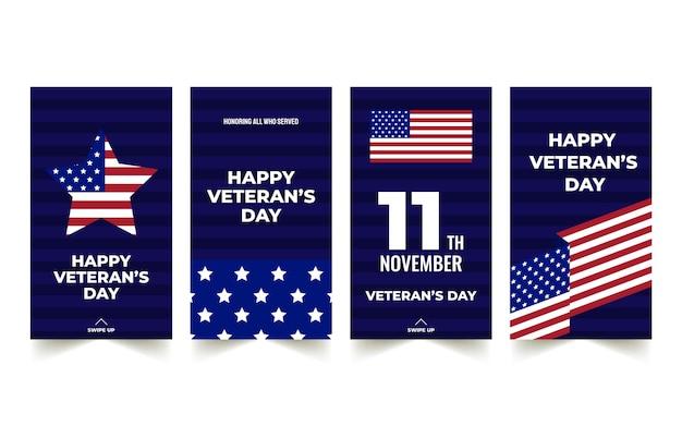 Handgezeichnete instagram-geschichtensammlung des flachen veteranentages