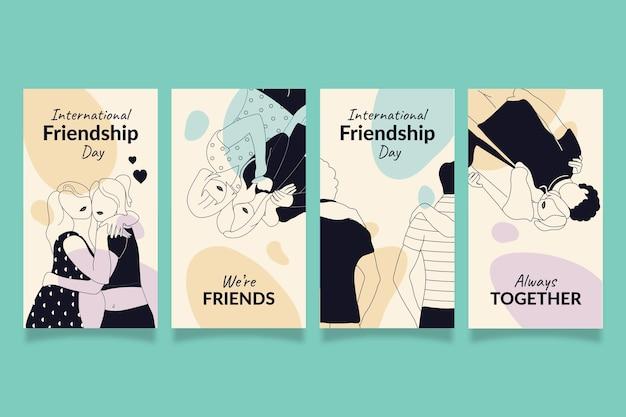 Handgezeichnete instagram-geschichtensammlung zum internationalen freundschaftstag