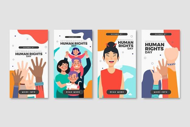Handgezeichnete instagram-geschichtensammlung zum internationalen tag der menschenrechte