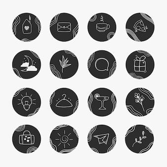Handgezeichnete instagram-highlights-sammlung