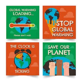 Handgezeichnete instagram-post-sammlung zum klimawandel