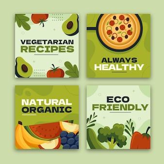 Handgezeichnete instagram-posts für vegetarisches essen im flachen design
