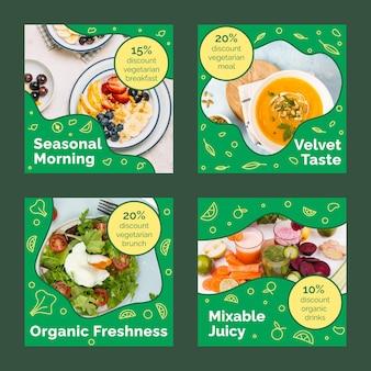 Handgezeichnete instagram-posts mit flachem vegetarischem essen