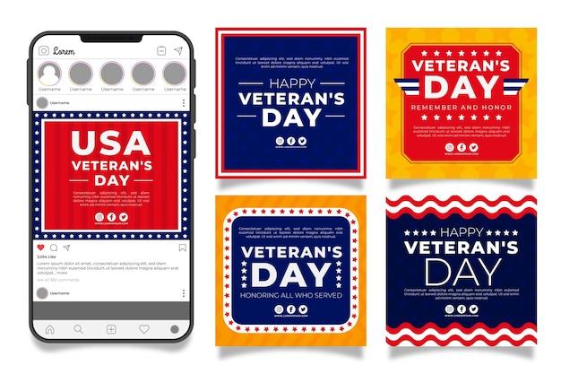 Handgezeichnete instagram-posts-sammlung des flachen veteranentages