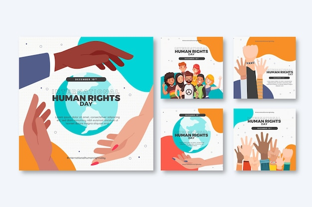 Handgezeichnete instagram-posts-sammlung zum internationalen tag der menschenrechte