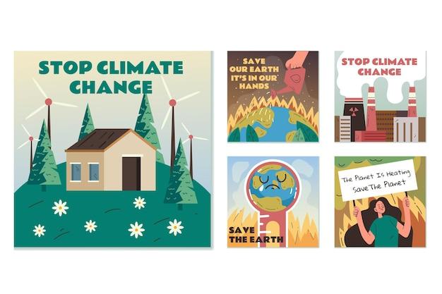 Handgezeichnete instagram-posts-vorlage zum klimawandel