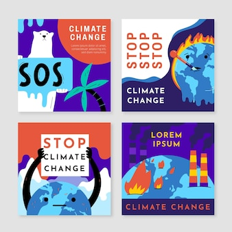 Handgezeichnete instagram-posts zum klimawandel