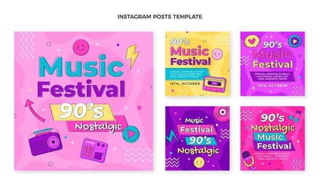 Handgezeichnete instagram-posts zum musikfestival der 90er jahre