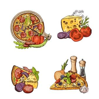 Handgezeichnete italienische pizza, gemüse und käse haufen gesetzt.