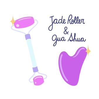 Handgezeichnete jadewalze und gua sha illustration