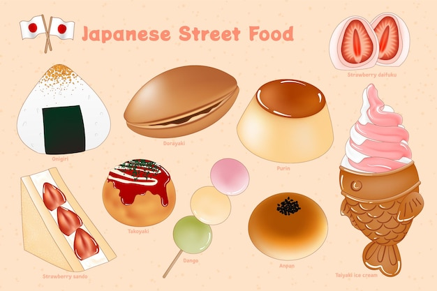Handgezeichnete japanische streetfood-illustration
