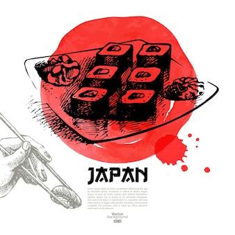 Handgezeichnete japanische sushi-illustration. skizzen- und aquarellmenühintergrund