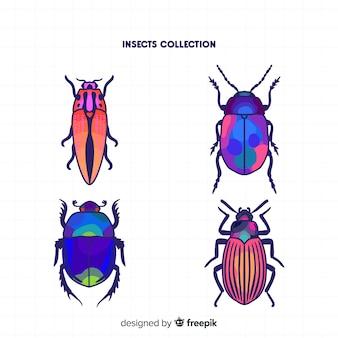 Handgezeichnete käfer-sammlung